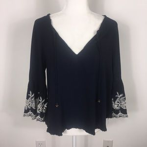 Forever 21 Navy Blue Embroidered Sleeve Blouse